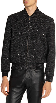 Saint Laurent Men's Teddy Tweed Bomber Jacket