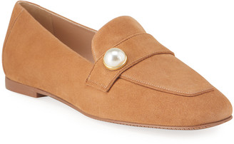 Stuart Weitzman Payson Pearl Suede Loafers