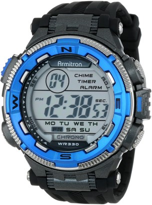 Armitron Sport Men's 40/8301BLU Blue and Silver-Tone Accented Black Resin Strap Chronograph Digital Watch