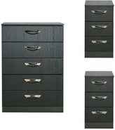 Canterbury of New Zealand Swift 3 Piece Ready Assembled Package - 5 Drawer chest and 2 Bedside Chests