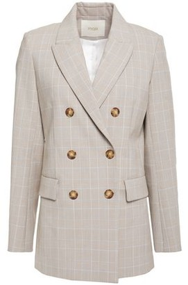 Maje Double-breasted Prince Of Wales Checked Woven Blazer