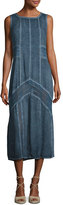 XCVI Long Paneled Denim Tank Dress, Blue