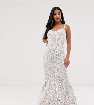 Jarlo Petite allover lace maxi dress with corset in white