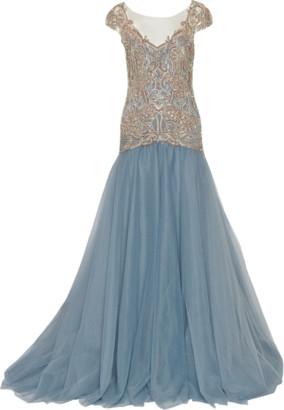 Marchesa Drop Waist Embroidered Ball Gown