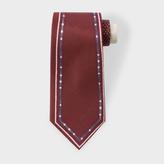 Paul Smith Men's Burgundy 'Double-Outline' Silk Tie
