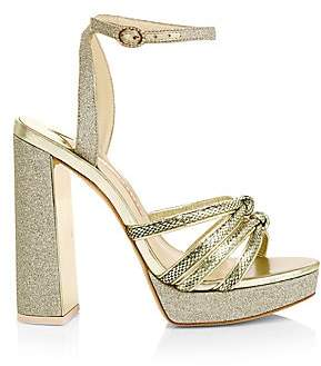 Sophia Webster Women's Glitter Snake-Embossed Leather Ankle Strap Platform Sandals