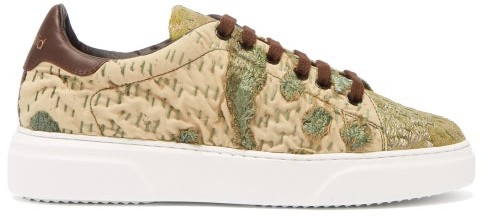 By Walid 19th Century Tapestry Low Top Trainers - Womens - Khaki Multi