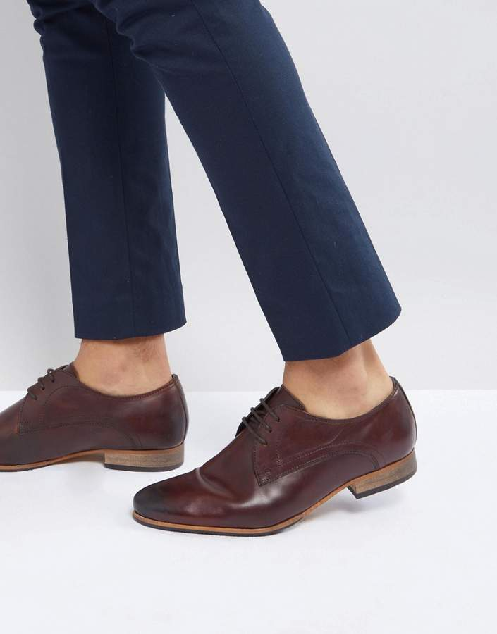 Asos Design Lace Up Derby Shoes In Brown Leather With Natural Sole