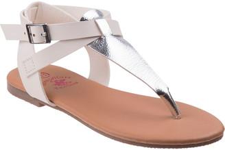 Beverly Hills Polo Club Girls' Sandals White - White Metallic-Contrast T-Strap Sandal - Girls