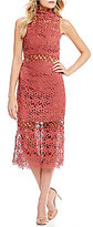 Keepsake Stay Close Lace Mock Neck Midi Dress