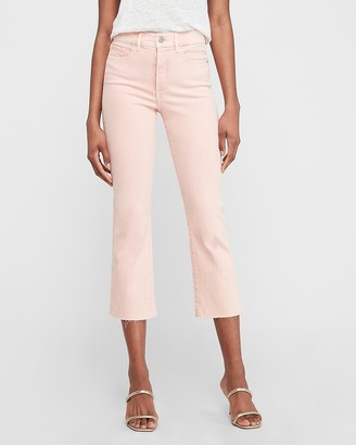 Express High Waisted Denim Perfect Pink Cropped Flare Jeans
