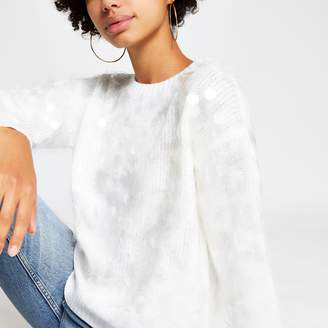 River Island Womens White sequin loose fit knitted jumper