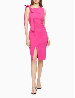 Calvin Klein Scuba Crepe Bow Shoulder Asymmetric Sheath Dress