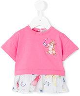 MonnaLisa bunny print pleated hem T-shirt - kids - Cotton/Elastodiene/Polyester - 3 mth