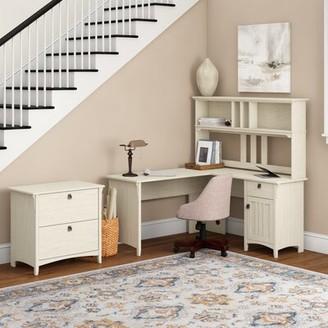 Three Posts Salina L-Shape Credenza Desk with Hutch Color: Cape Cod Gray