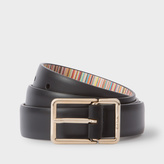 Paul Smith Women's Black Leather Belt With 'Signature Stripe' Lining