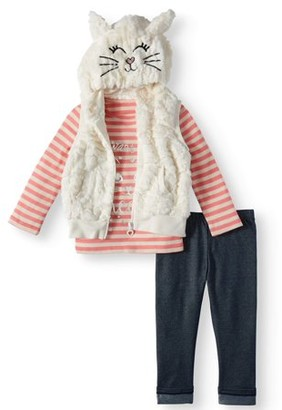 Forever Me Toddler Girl Faux Fur Kitty Cat Vest, Long Sleeeve T-shirt & Denim Jeans, 3pc Outfit Set (2T-4T)