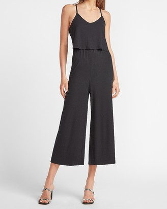 Express Ribbed V-Neck Culotte Jumpsuit