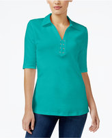 Karen Scott Elbow-Sleeve Lace-Up Top, Only at Macy's