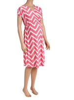 Glam Pink & White Chevron Surplice Maternity Dress - Plus Too