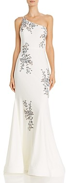 Avery G One-Shoulder Embroidered Mermaid Gown