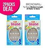 Kiss 2-Pack! Broadway Tip Tease Medium Length 24 Nails 12 Sizes
