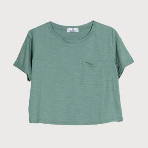 Know The Origin - Jade Green Cropped Organic Slub T Shirt - XS - Green