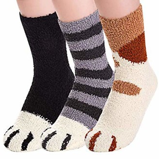 LOPILY 3 pairs Women Fleece Floor Socks Extra Soft Fluffy Gentle Lounge Funny Socks Comfortable Cute Knitting Ladies Socks Present Chunky Bed Socks B