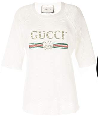 Gucci Pre-Owned open knit crochet logo T-shirt