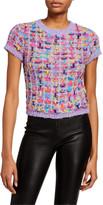 Alice + Olivia Ciara Short-Sleeve Crop Crewneck Sweater
