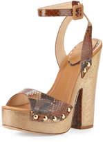 Alexandre Birman Zoee Wooden Python Platform Sandal, Caramel/Beige