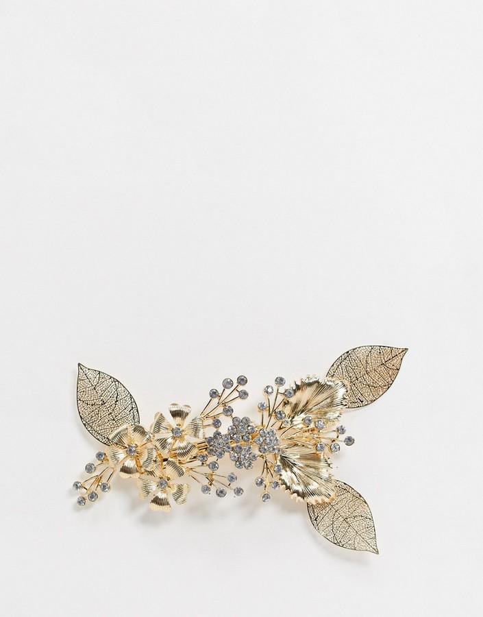 ASOS DESIGN statement barette hair clip in gold filigree leaf and crystal design