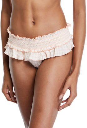 Tory Burch Gingham Skirted Smocked Bikini Swim Bottoms