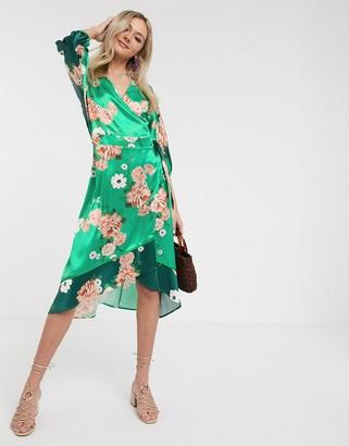 Liquorish satin kimono midi dress in mixed green floral