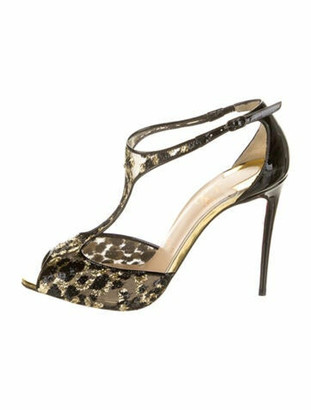 Christian Louboutin Patent Leather Lace Pattern T-Strap Pumps Black