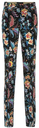 Etro Printed silk-crepe straight pants