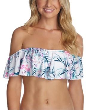 Raisins Juniors' Paraiso Printed Moonstone Ruffled Bikini Top Women's Swimsuit