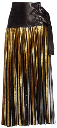 Proenza Schouler Sequin & Leather Double Buckle Midi Skirt