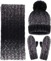 Simplicity Women's Winter Warm 3PC Cable Knit Gloves Scarf Beanie Hat Set