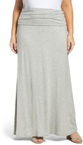 Loveappella Plus Size Women's Fold Over Maxi Skirt