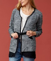 Selection Women's Open Cardigans BLACK - Black & Gray Belted Open Cardigan - Women