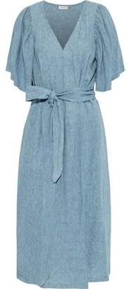 Masscob River Gathered Linen Midi Wrap Dress