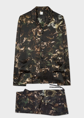 Men's Green 'Floral Photo' Print Silk Pyjamas