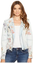 Blank NYC Floral Embroidered Denim Studded Jacket in Sitting Pretty
