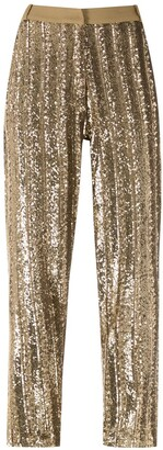 Eva Sequin Embellished Straight-Leg Trousers