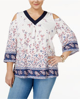 Style&Co. Style & Co Plus Size Printed Cold-Shoulder Top, Created for Macy's