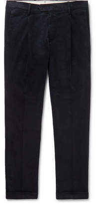NN07 Navy Codo Pleated Cotton-Blend Corduroy Trousers