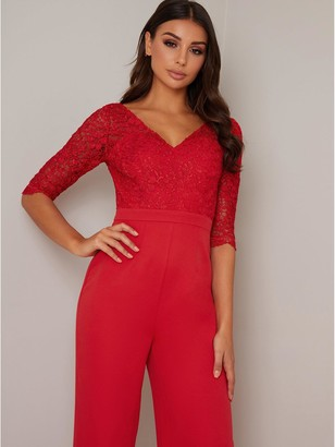 Chi Chi London Naria Jumpsuit - Red