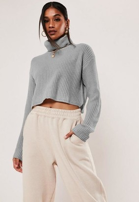 Missguided Gray Turtle Neck Cropped Knit Sweater