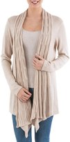 Novica 10% Alpaca Wool Long Sleeves Cardigan Sweater, 'Waterfall Dream'